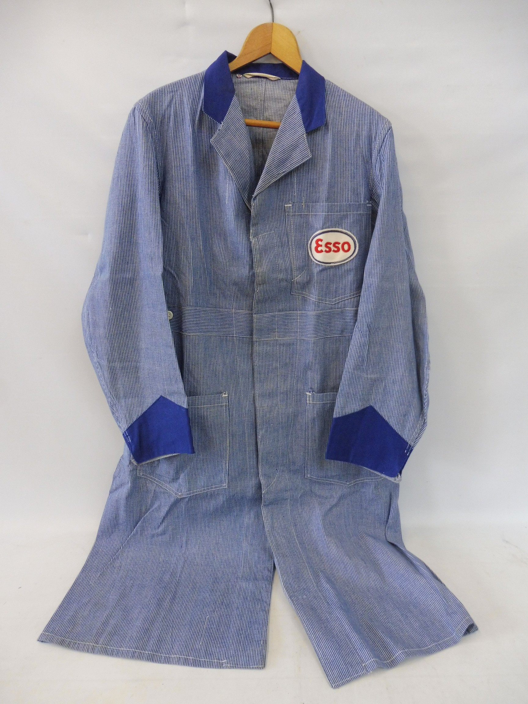A new old stock overcoat with Esso branding, manufactured by Beacon Reg'd, size 38 (slightly