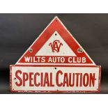 A rare Wilts Auto Club 'Special Caution' enamel sign, mounted on the original iron bracket, some