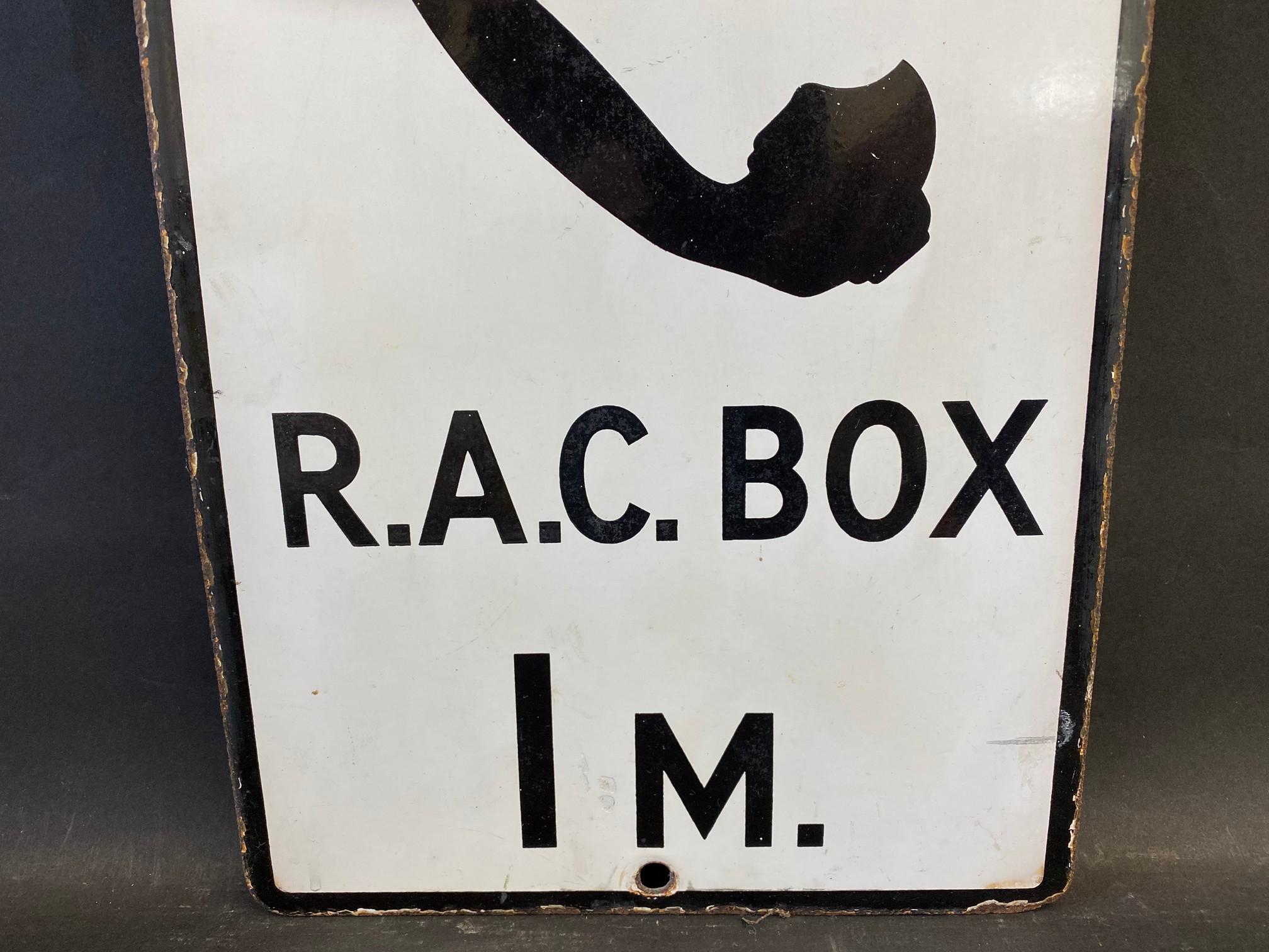 "An RAC Box 1 mile rectangular enamel sign, 10 x 20"". - Image 3 of 4"