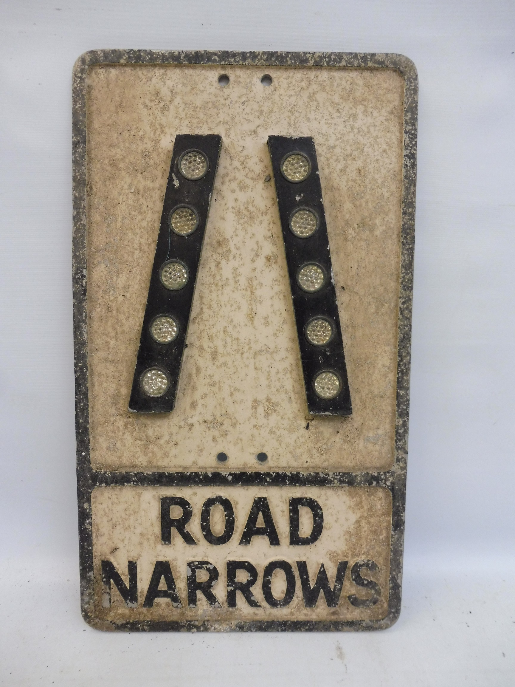 """An aluminium road sign - Road Narrows, with reflective glass discs, 12 x 21""""."""