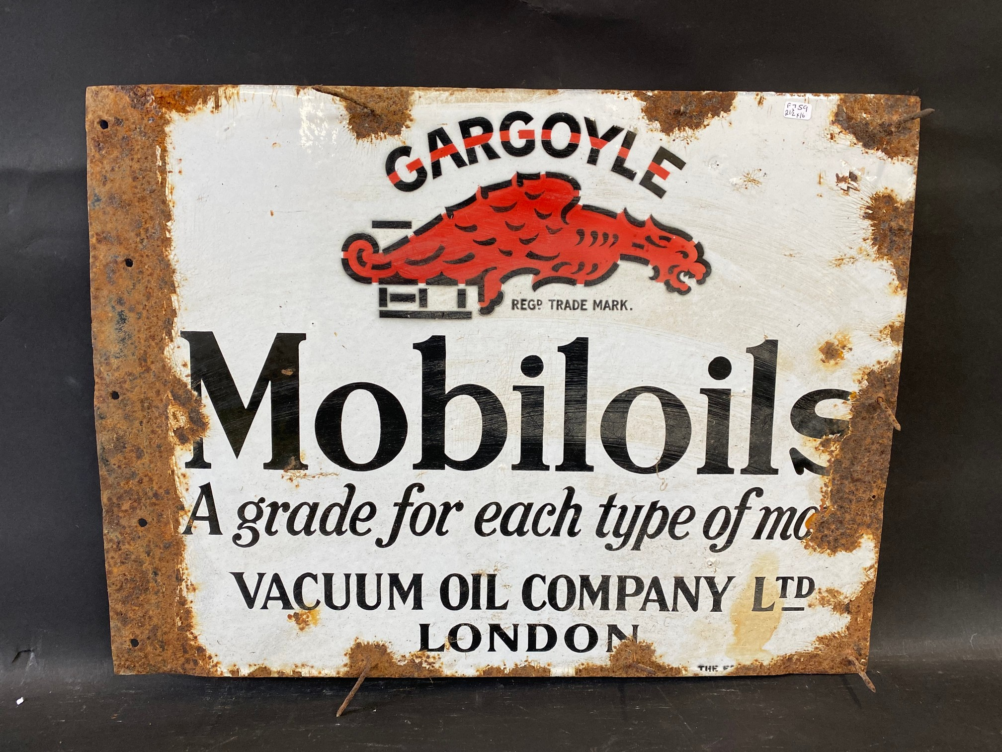 A Gargoyle Mobiloils 'a grade for each type of motor' double sided enamel sign with flattened - Image 2 of 2