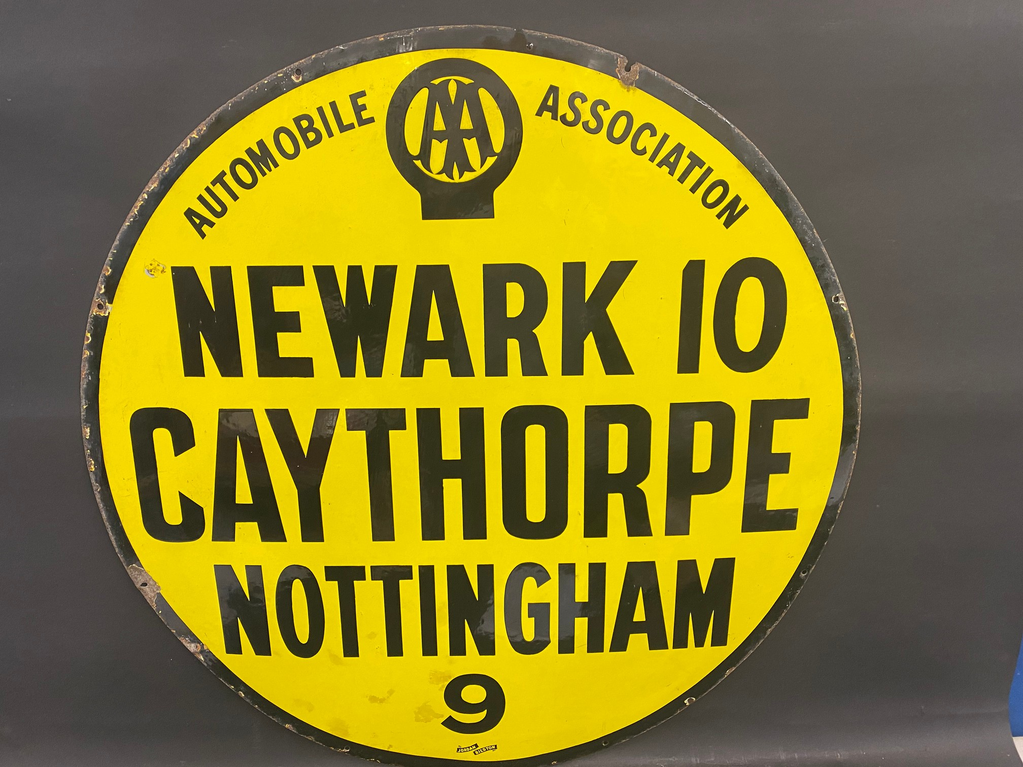 A large AA circular village sign from Claythorpe, Newark 10 miles, by Jordan of Bilston, good gloss,