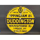An early and rare AA & Motor Union circular village/location sign for Duddington by Bruton of