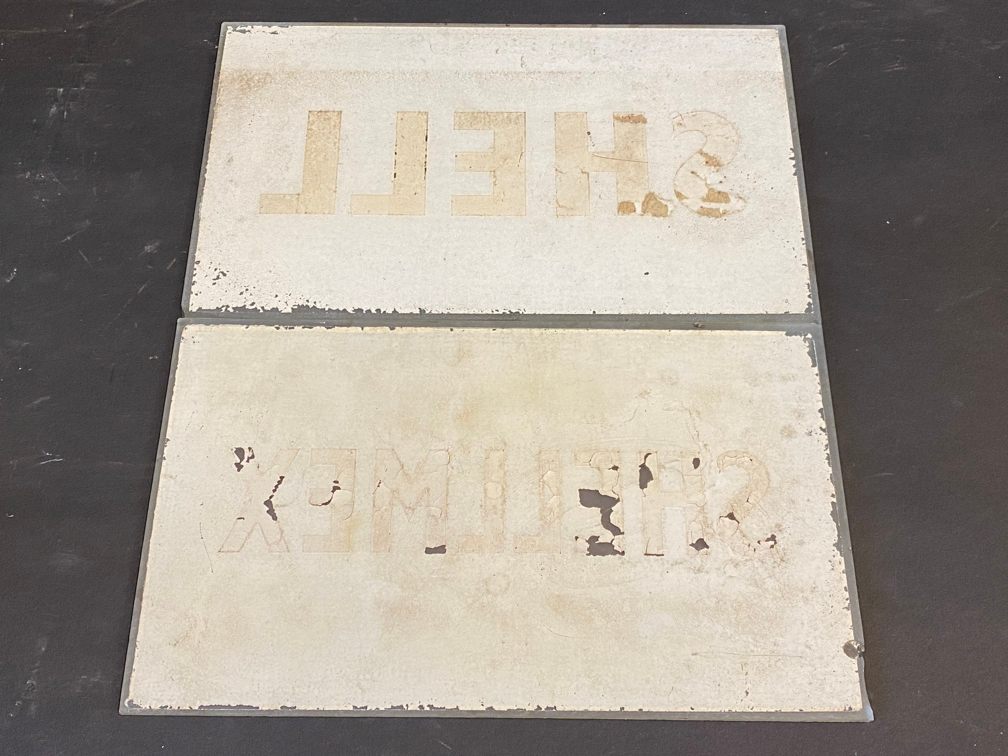 """A Shell glass petrol pump brand insert plus a second for Shellmex, both 8 1/2 x 5"""". - Image 2 of 2"""