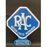 An RAC Motor Cycle Repairer lozenge shaped double sided enamel sign with 'Registered Instructor'