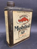 A French Gargoyle Mobiloil 'AF' grade rectangular can.