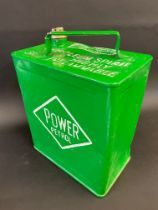 A Power Petrol two gallon petrol can with plain brass cap.