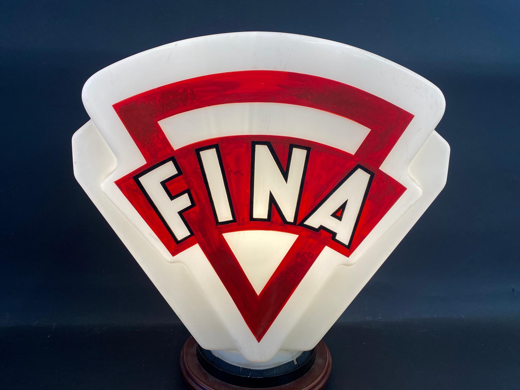 A Fina glass petrol pump globe, minor crack near neck and repainted.