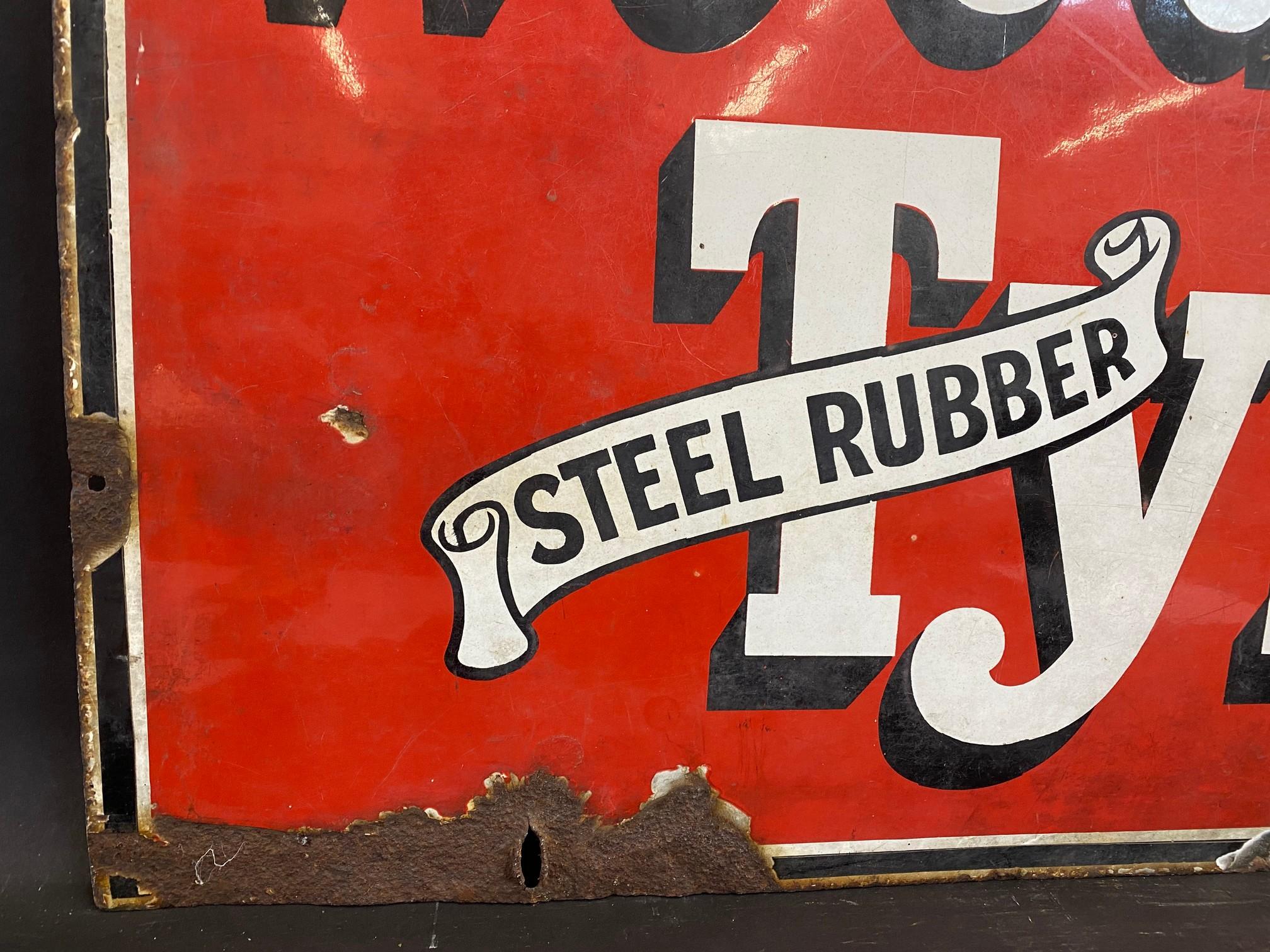 "A Wood-Milne Tyres rectangular enamel sign, 36 x 24"". - Image 2 of 4"