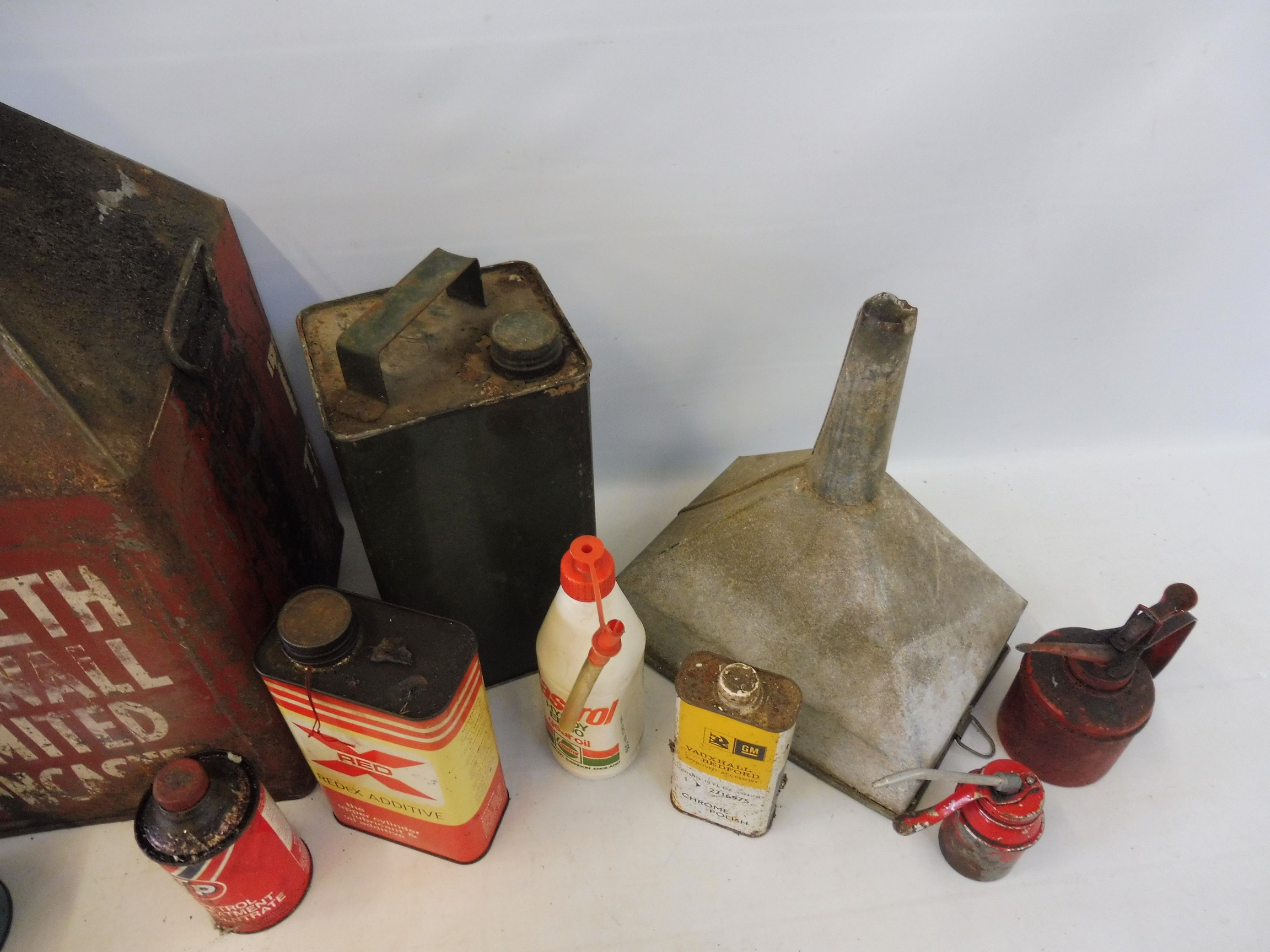 Two crates of assorted oil cans, a funnel etc. - Image 2 of 6