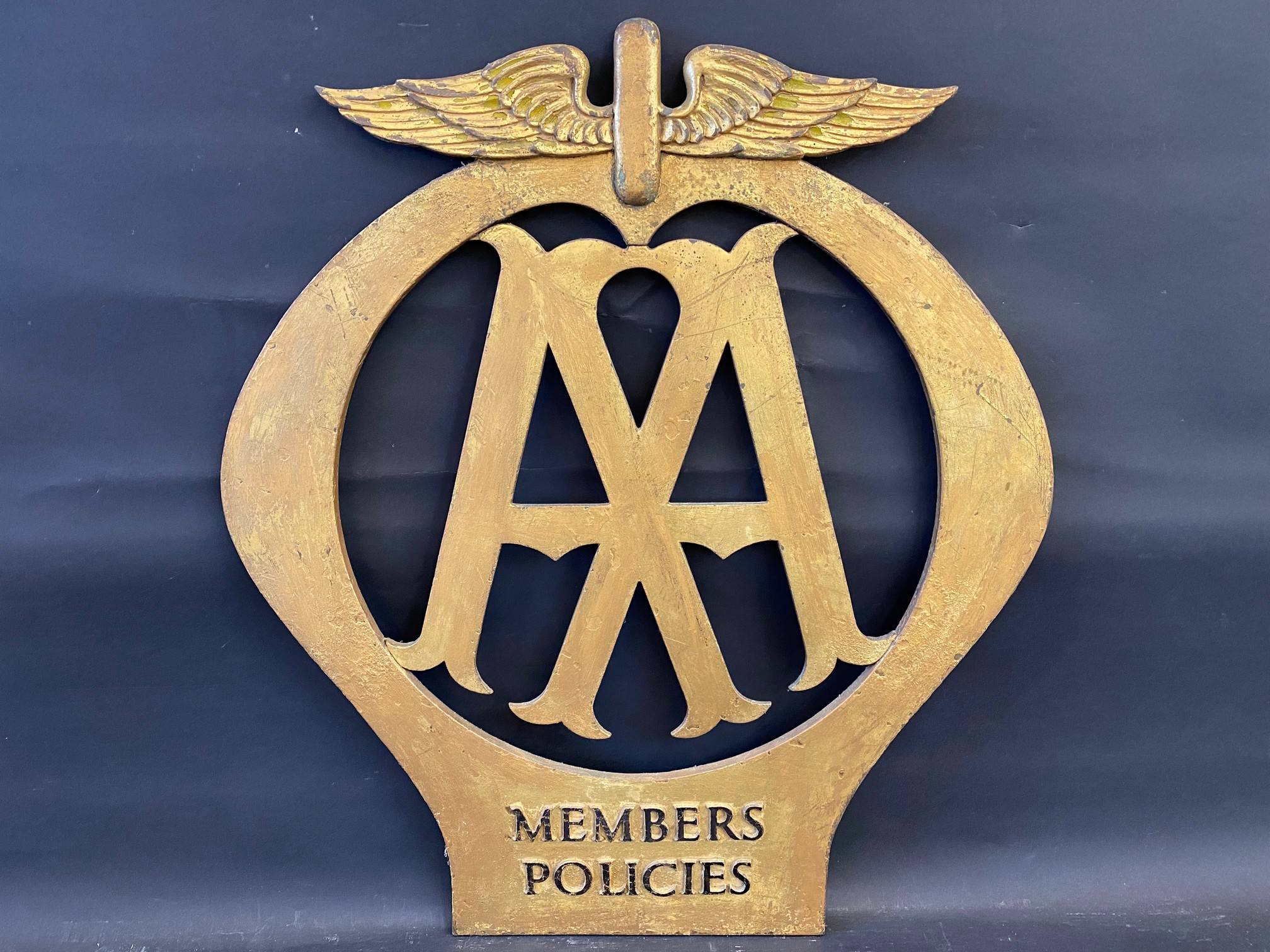 """A rare large scale AA Members Policies bronze die-cut emblem sign, 24 x 27""""."""