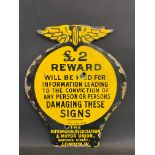 """A small AA and Motor Union £2 Reward enamel sign with some re-touching, 8 x 10""""."""
