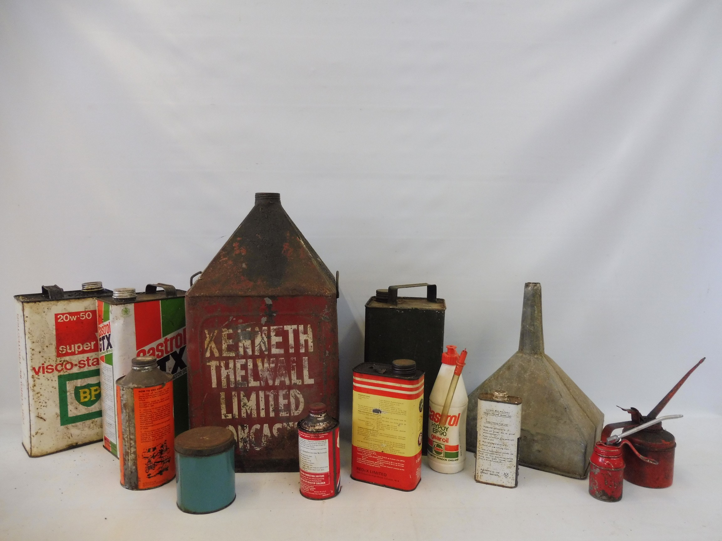 Two crates of assorted oil cans, a funnel etc. - Image 4 of 6