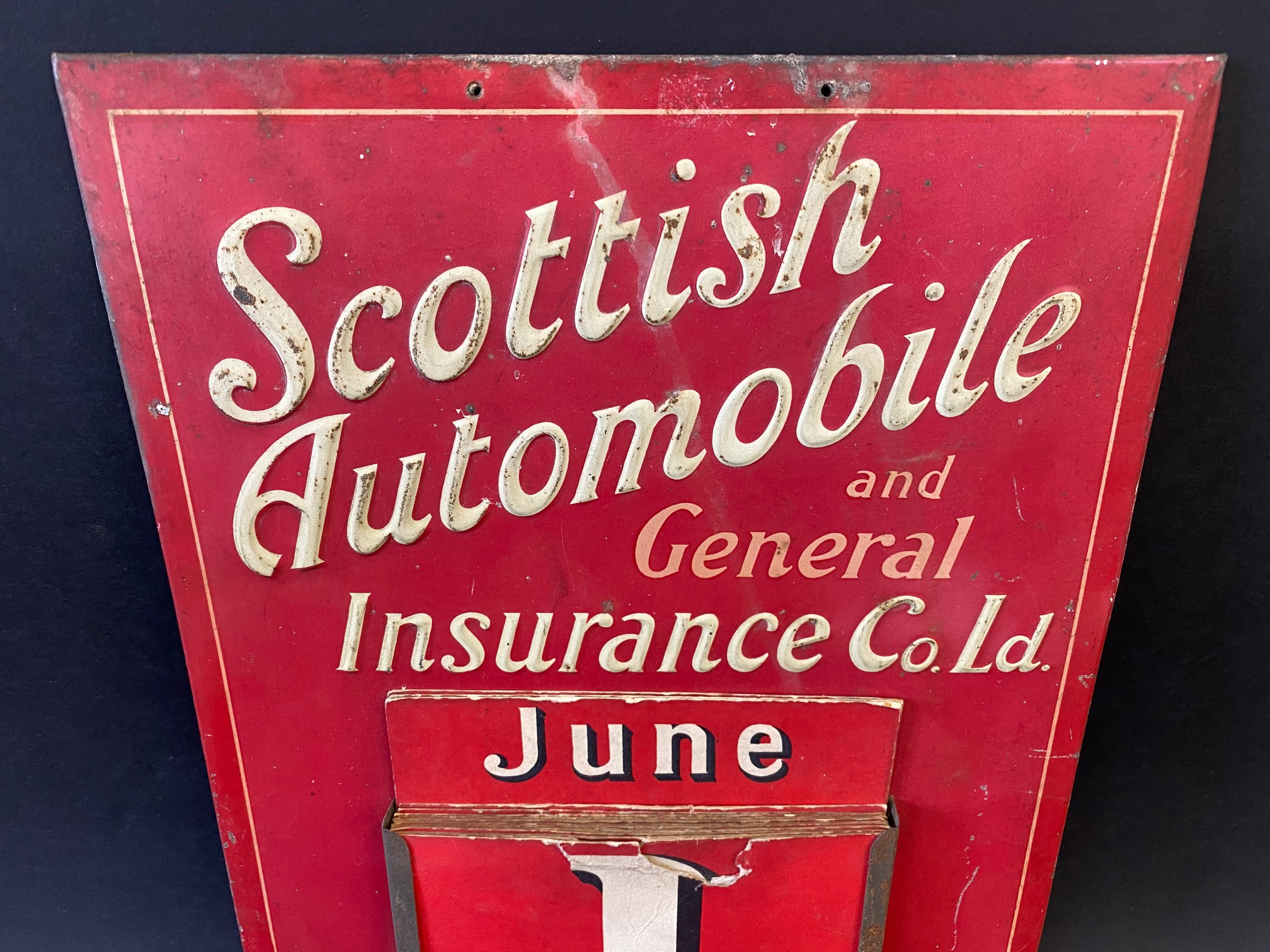A rarely seen Scottish Automobile and General Insurance Co. Ltd. embossed tin fronted wall hanging - Image 2 of 3