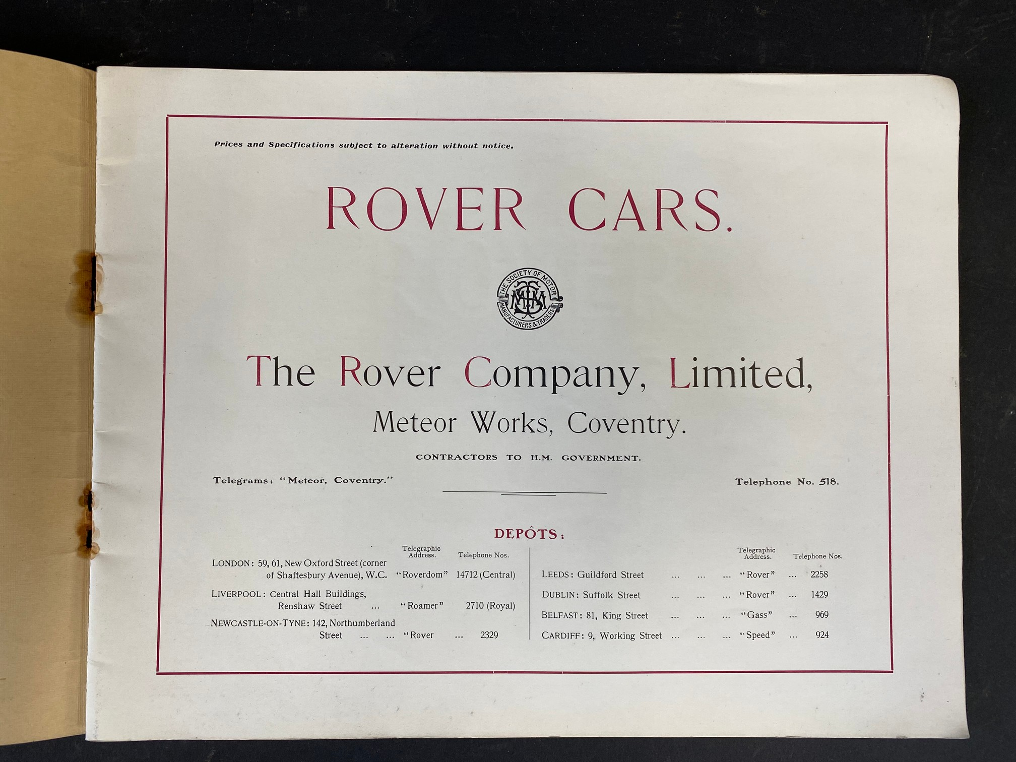 A Rover Cars sales brochure from 1909 featuring the 20hp, the 15hp, the 12hp, the 8hp and the 6hp. - Image 2 of 9