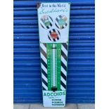 A Duckham's Adcoids enamel advertising thermometer garage sign in very good condition, complete with