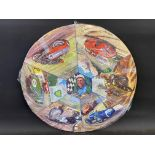An unusual BP circular motoring themed jigsaw puzzle depicting Stirling Moss to the centre,