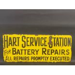 """A Hart Service Station for Battery Repairs rectangular enamel sign, 36 x 15""""."""