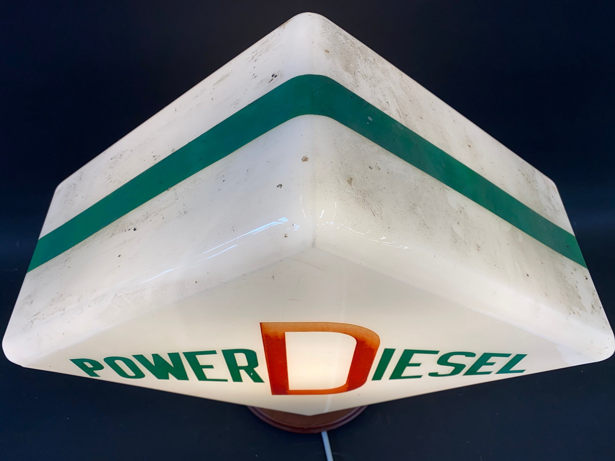 A Power Diesel lozenge shaped glass petrol pump globe by Hailware, indistinctly stamped 'Property of - Image 3 of 4