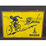 A Raleigh The All-Steel Bicycle pictorial enamel sign depicting a boy on a bicycle chased by a lion,