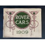 A Rover Cars sales brochure from 1909 featuring the 20hp, the 15hp, the 12hp, the 8hp and the 6hp.