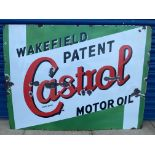 """A large Wakefield Castrol Motor Oil rectangular enamel sign with good gloss, 48 x 36""""."""