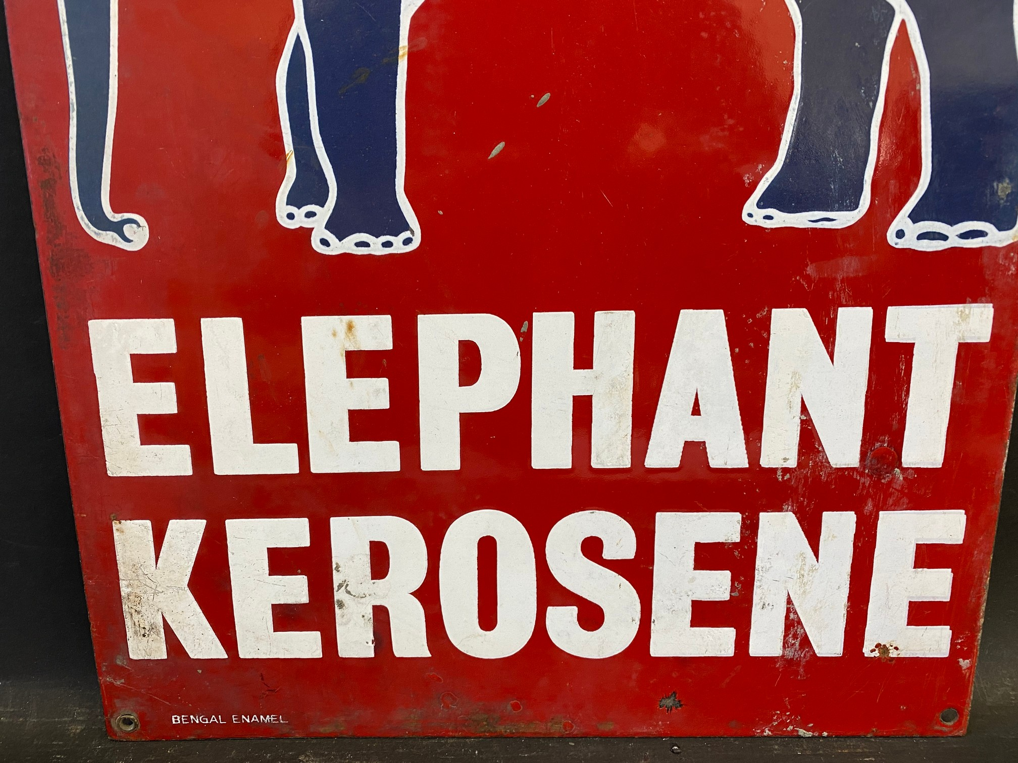 "An Indian Esso Elephant Kerosene pictorial enamel sign by Bengal Enamel, 12 x 24"". - Image 3 of 4"
