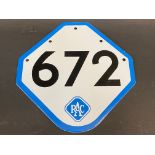 """An RAC enamel box number sign '672' in very near mint condition, 7 1/2 x 7 1/2""""."""
