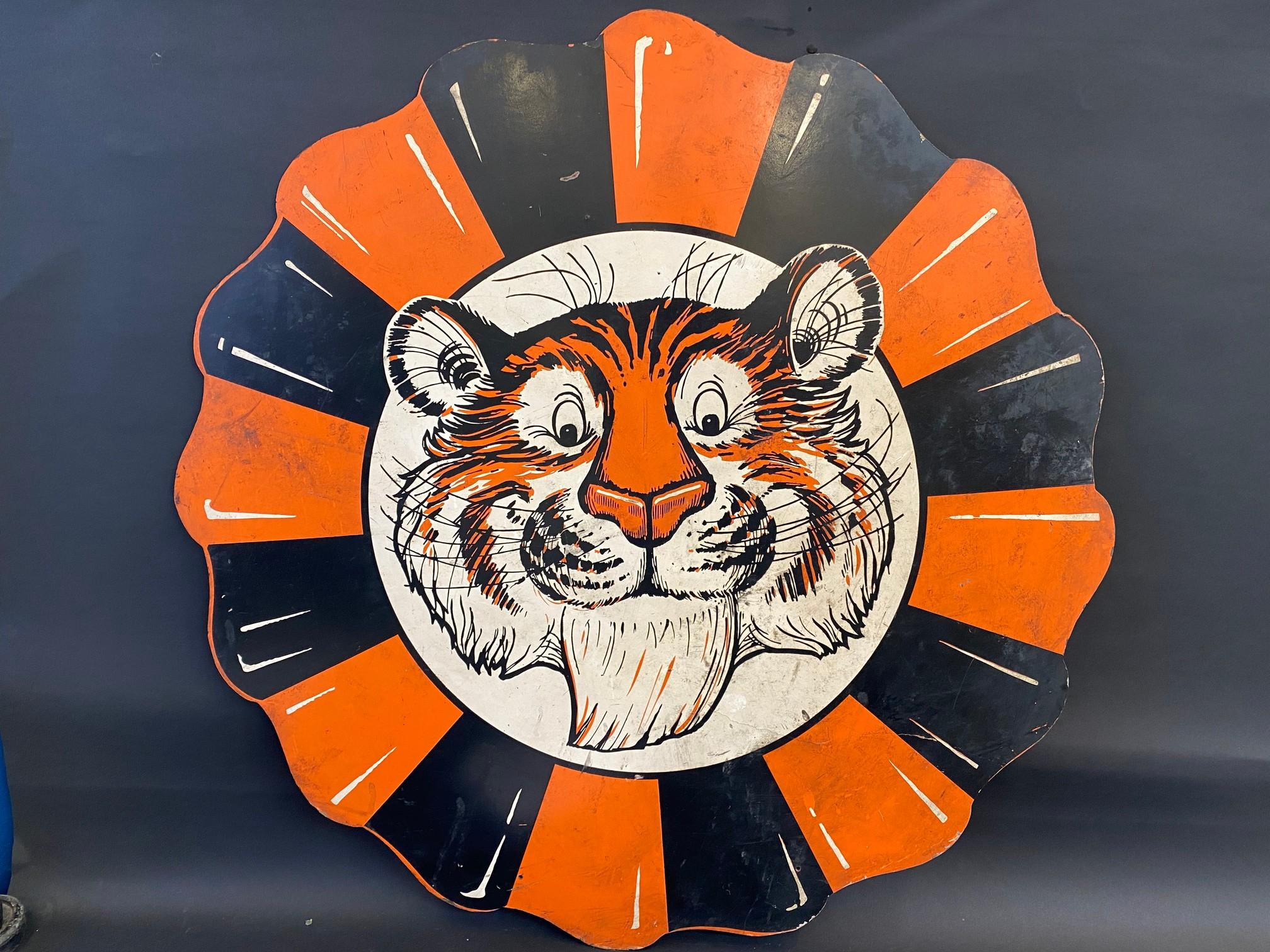 """An Esso 'Tiger' hardboard promotional hardboard sign, 36"""" diameter."""