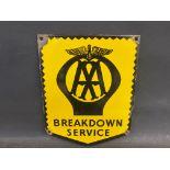 """A small AA Breakdown Service enamel sign, 7 x 9""""."""