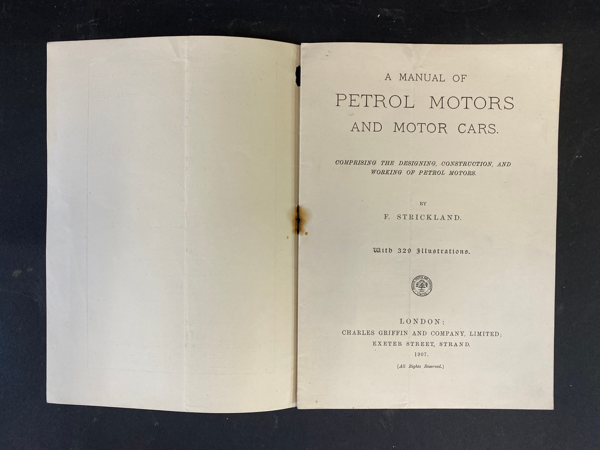 A 1907 Manual of Petrol Motors and Motor Cars by F. Strickland. - Image 2 of 4
