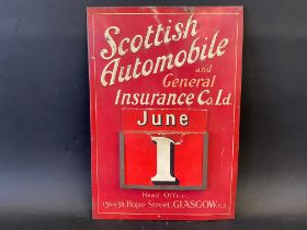 A rarely seen Scottish Automobile and General Insurance Co. Ltd. embossed tin fronted wall hanging