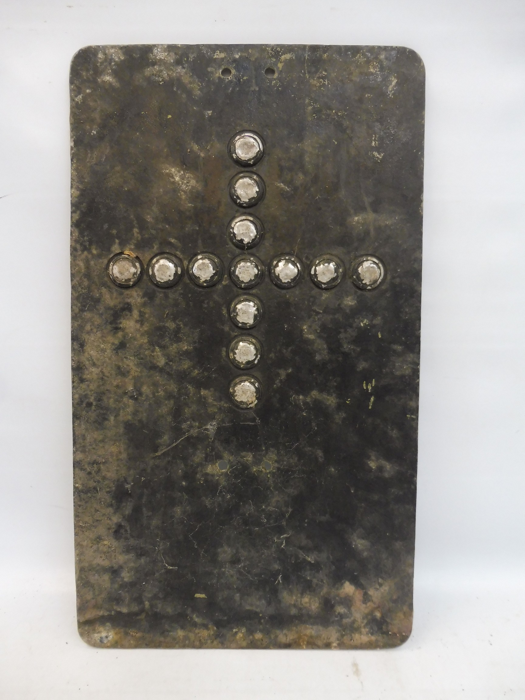 """Cross Roads - an aluminium road sign with glass reflective discs, 12 x 21"""". - Image 2 of 2"""