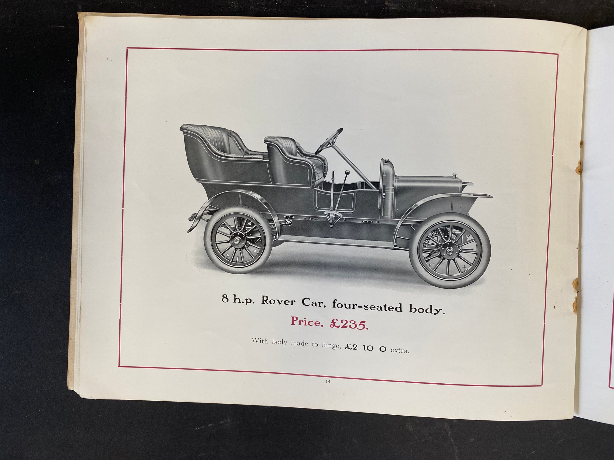 A Rover Cars sales brochure from 1909 featuring the 20hp, the 15hp, the 12hp, the 8hp and the 6hp. - Image 8 of 9