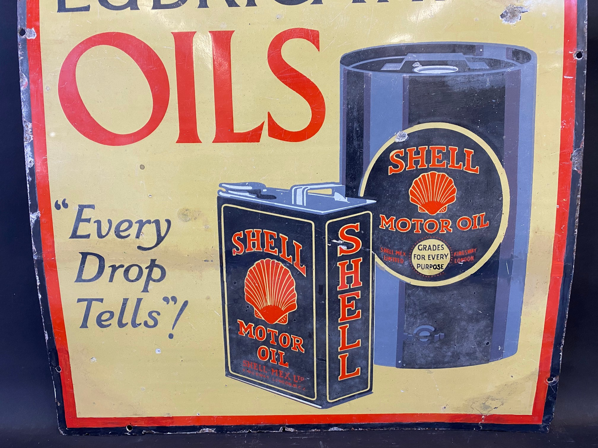 A Shell Lubricating Oils 'Every Drop Tells' pictorial enamel sign with some patches of - Image 4 of 8