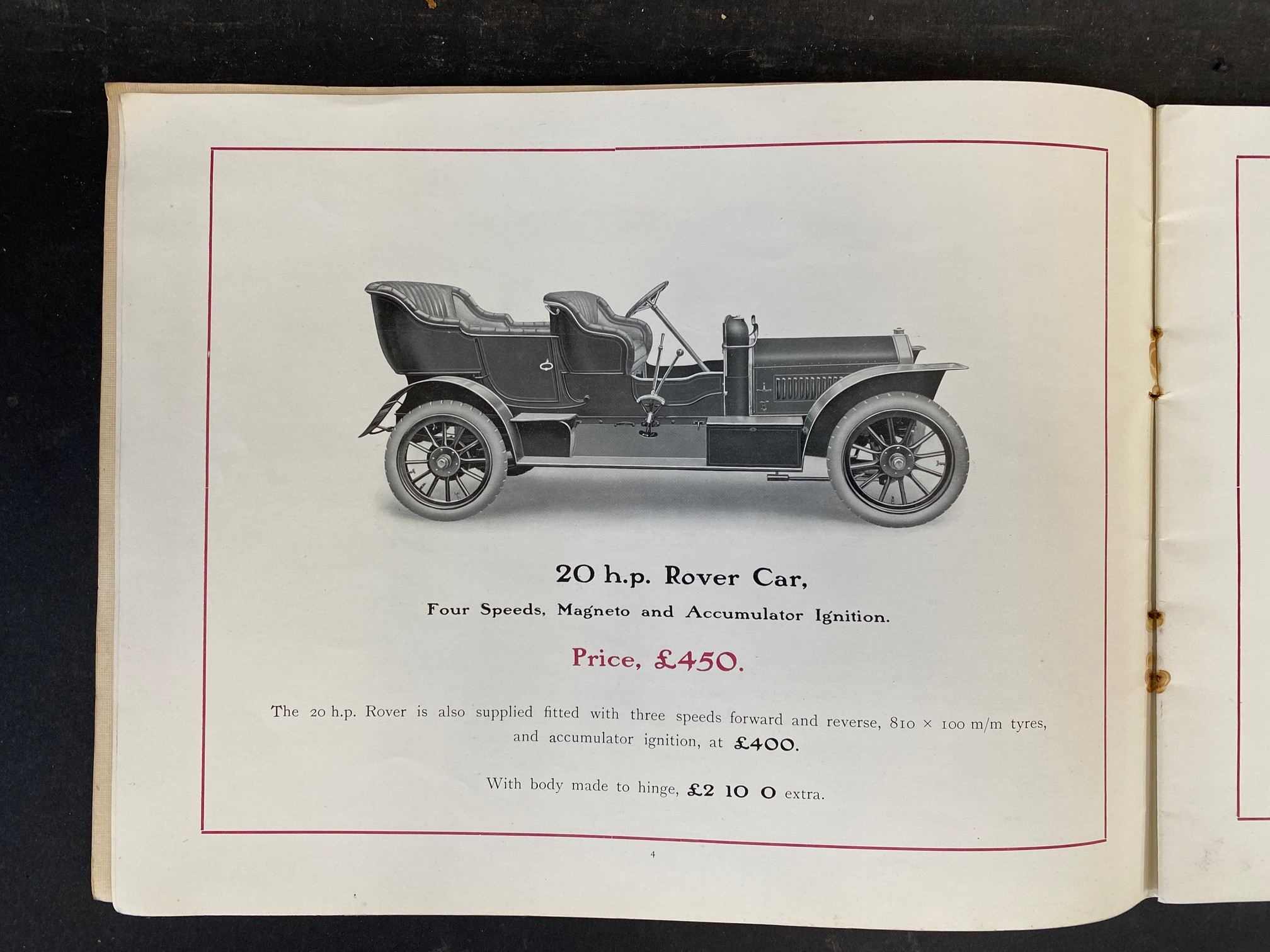 A Rover Cars sales brochure from 1909 featuring the 20hp, the 15hp, the 12hp, the 8hp and the 6hp. - Image 3 of 9