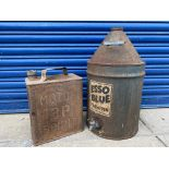 An Esso Blue five gallon conical can plus a BP two gallon petrol can.