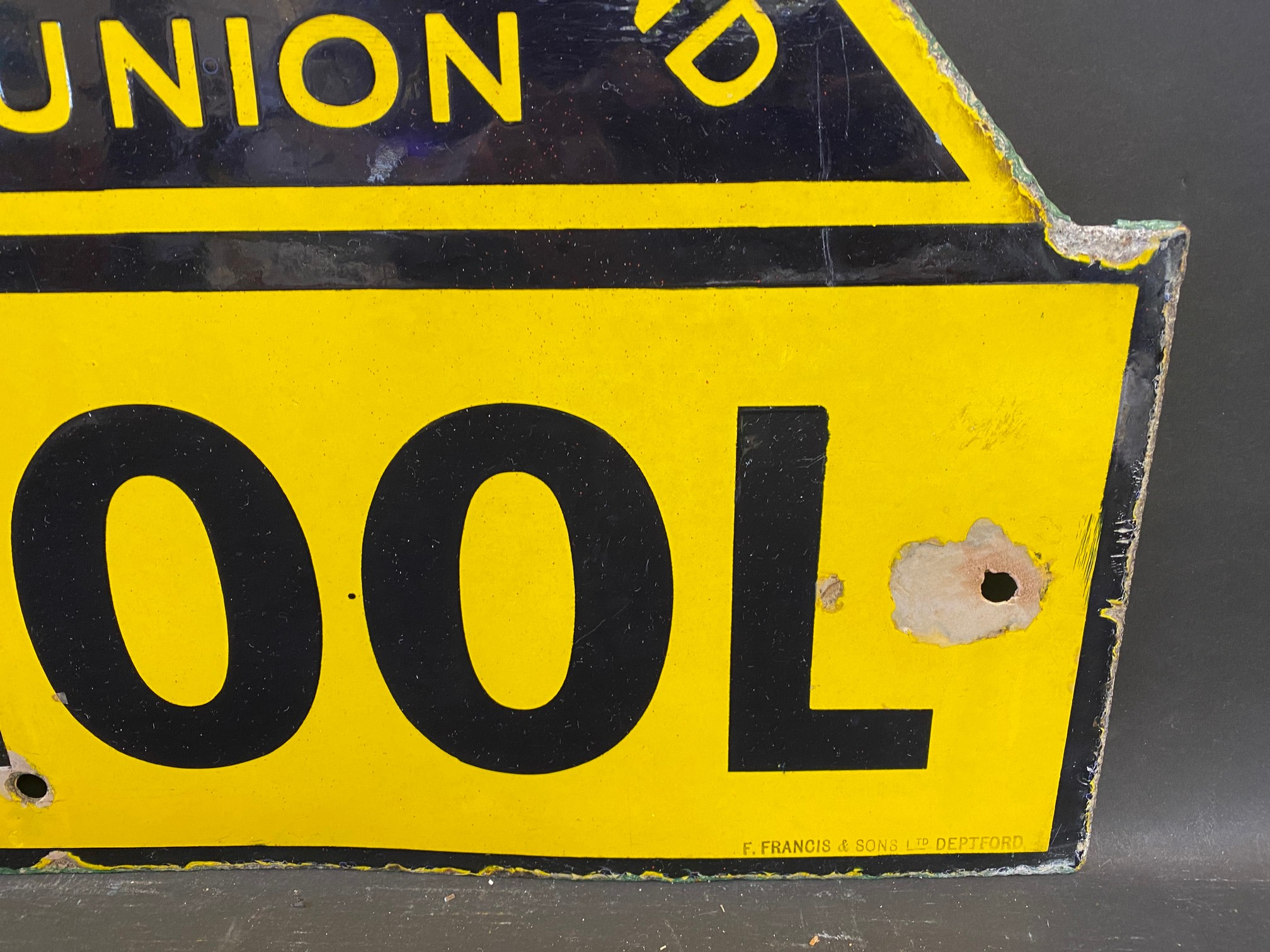 """An AA & Motor Union School enamel road sign by F. Francis & Sons Ltd. of Deptford, 21 1/2 x 26"""". - Image 4 of 5"""