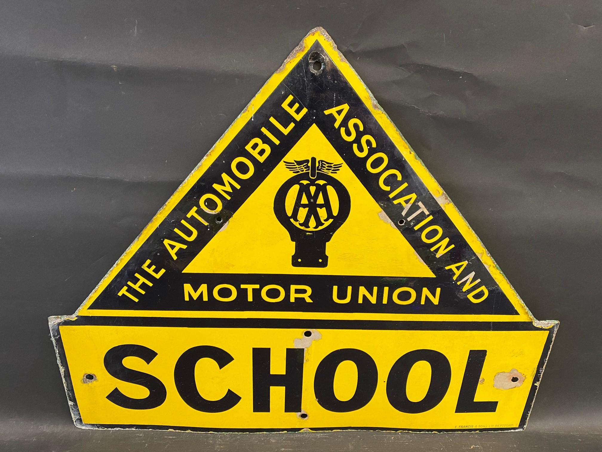"An AA & Motor Union School enamel road sign by F. Francis & Sons Ltd. of Deptford, 21 1/2 x 26""."