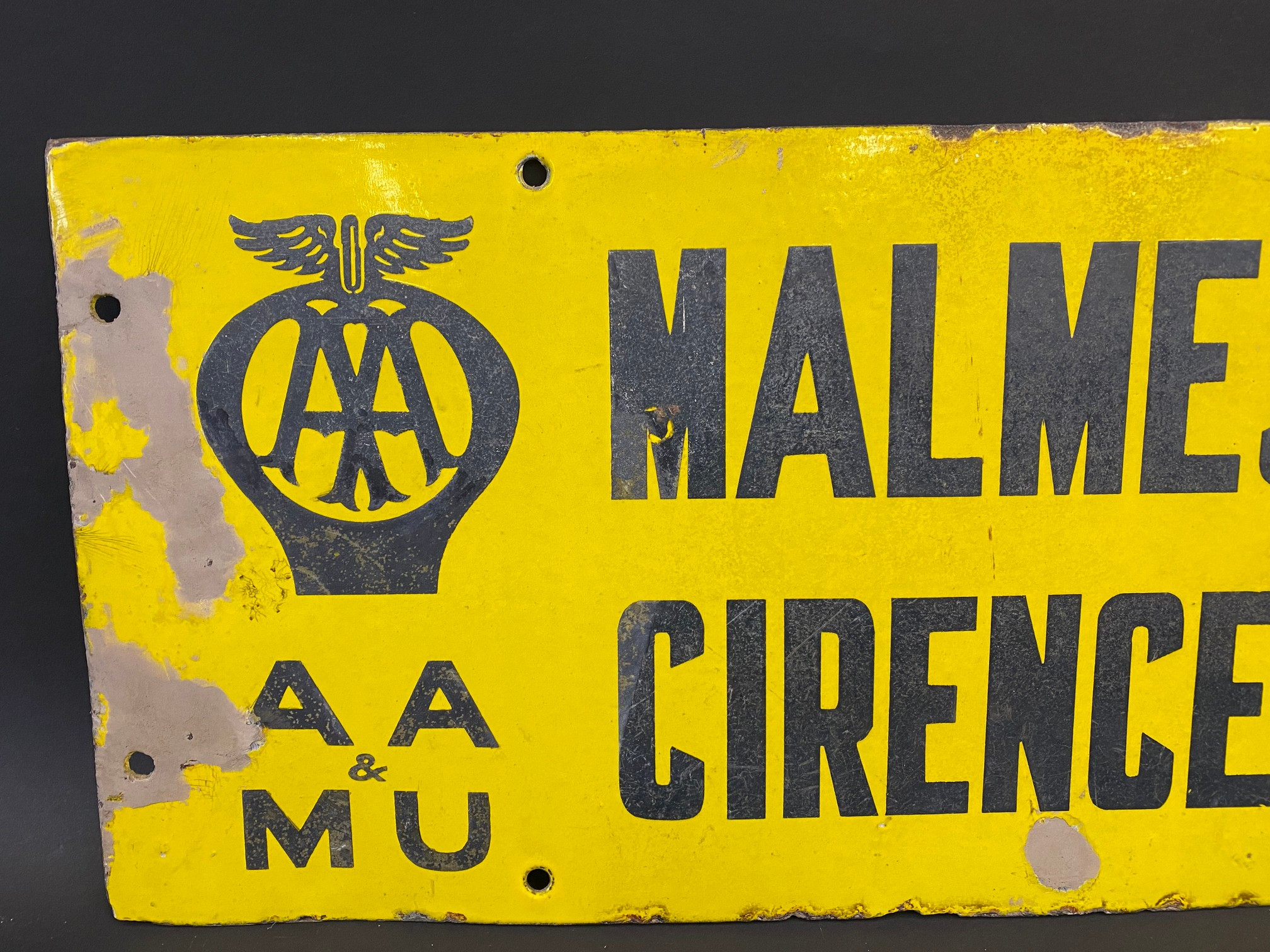 An AA & Motor Union double sided directional enamel sign by Franco, pointing to Malmesbury and - Image 2 of 4