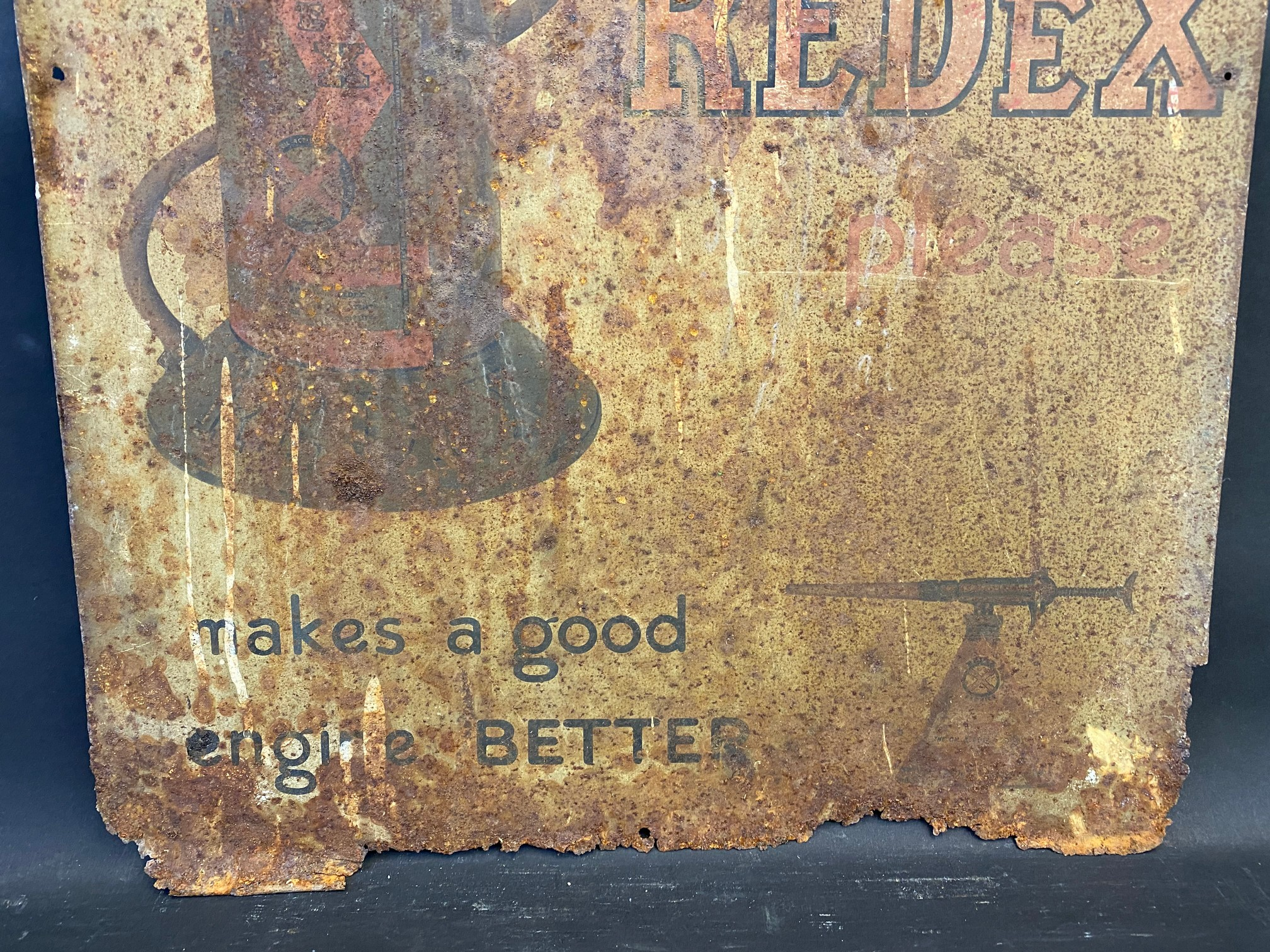 """A Redex tin advertising sign, 17 1/2 x 25"""". - Image 2 of 3"""