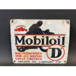 A Mobiloil 'O' grade pictorial enamel sign depicting the motorcyclist at speed, older restoration,