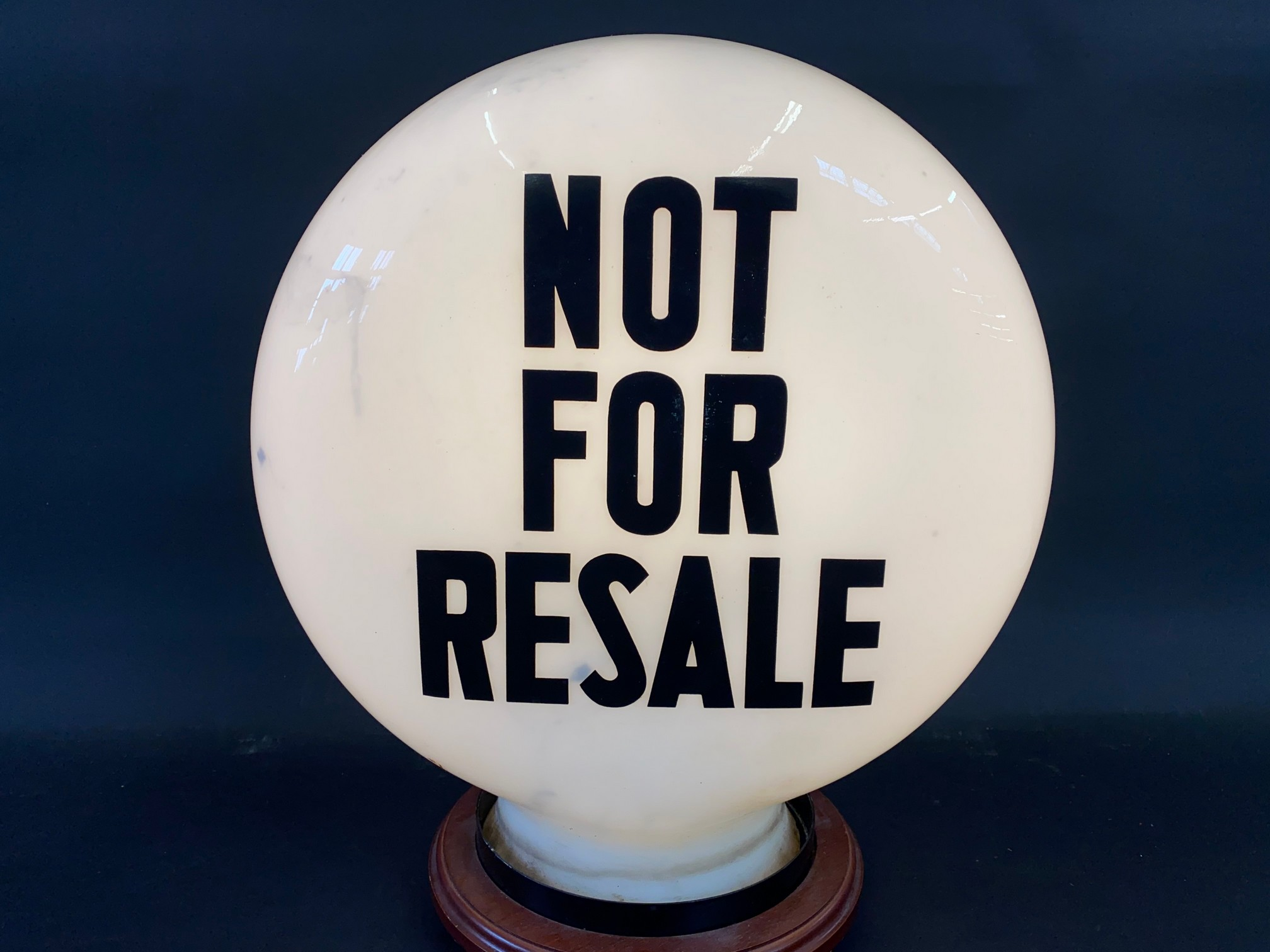 A 'Not For Resale' glass petrol pump globe by Hailware, in good condition, fully stamped 'Property - Image 2 of 3