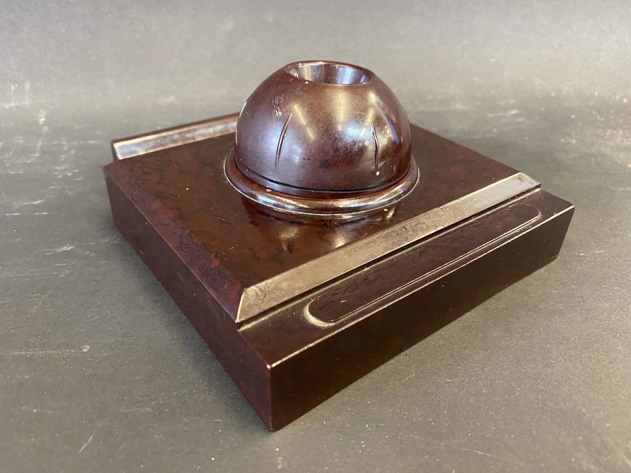 A Delage bakelite style pen holder and inkwell, possibly a salesman's desk piece in a dealership. - Image 2 of 2