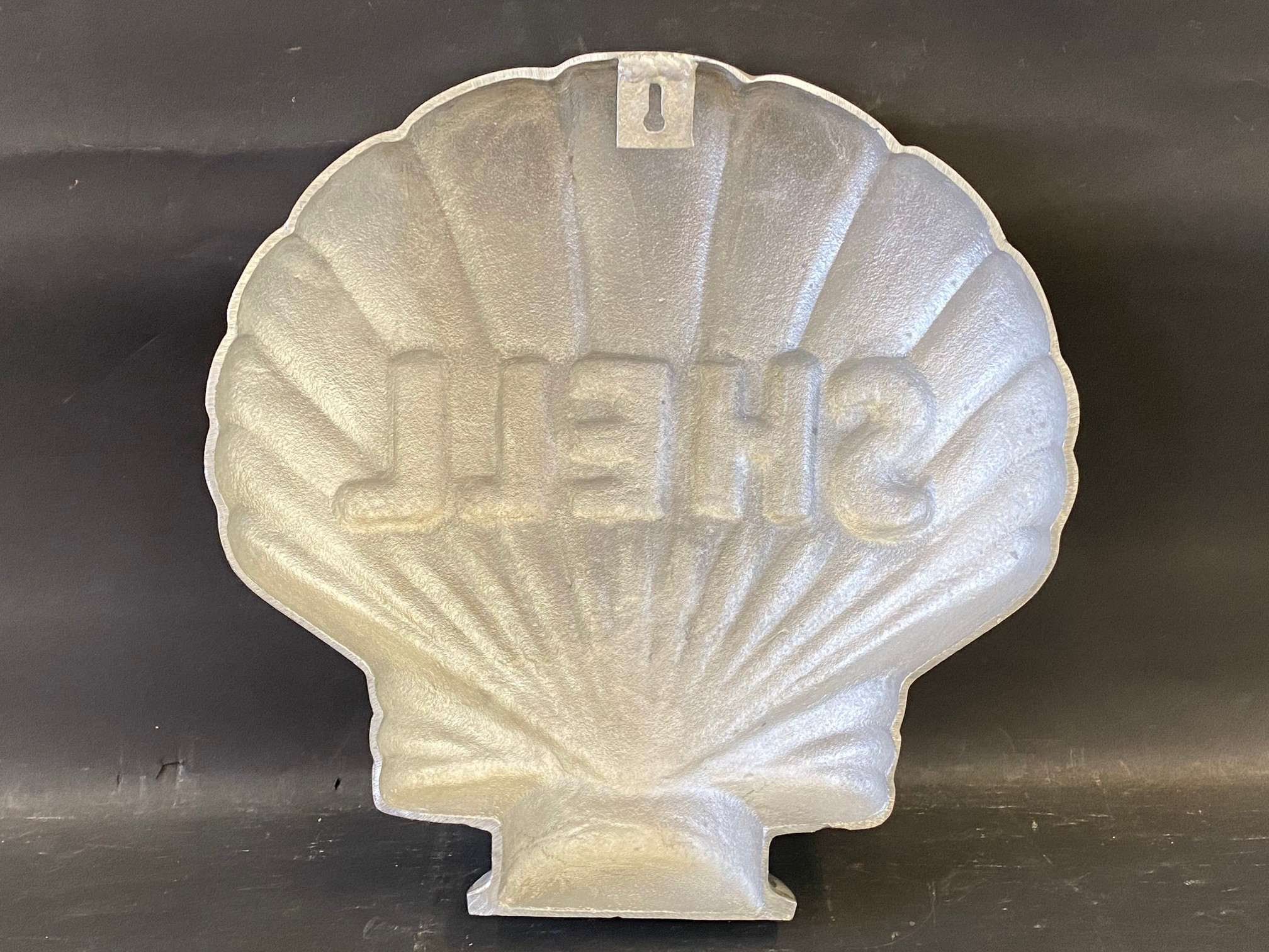 A contemporary polished aluminium clam Shell sign, 16 1/2 x 16 1/2. - Image 3 of 3
