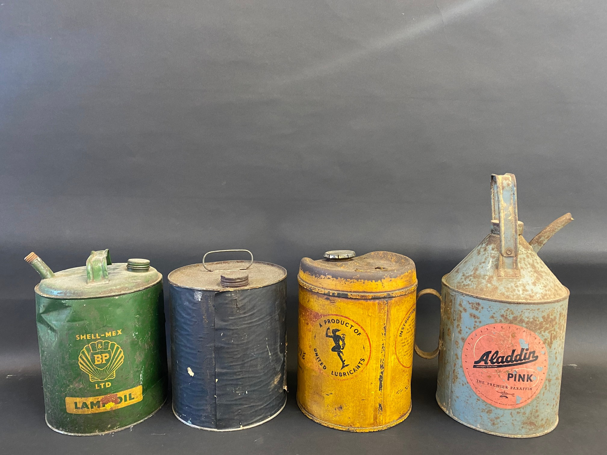 A Smiths Bluecol gallon can with paper label and three further cans. - Image 2 of 2