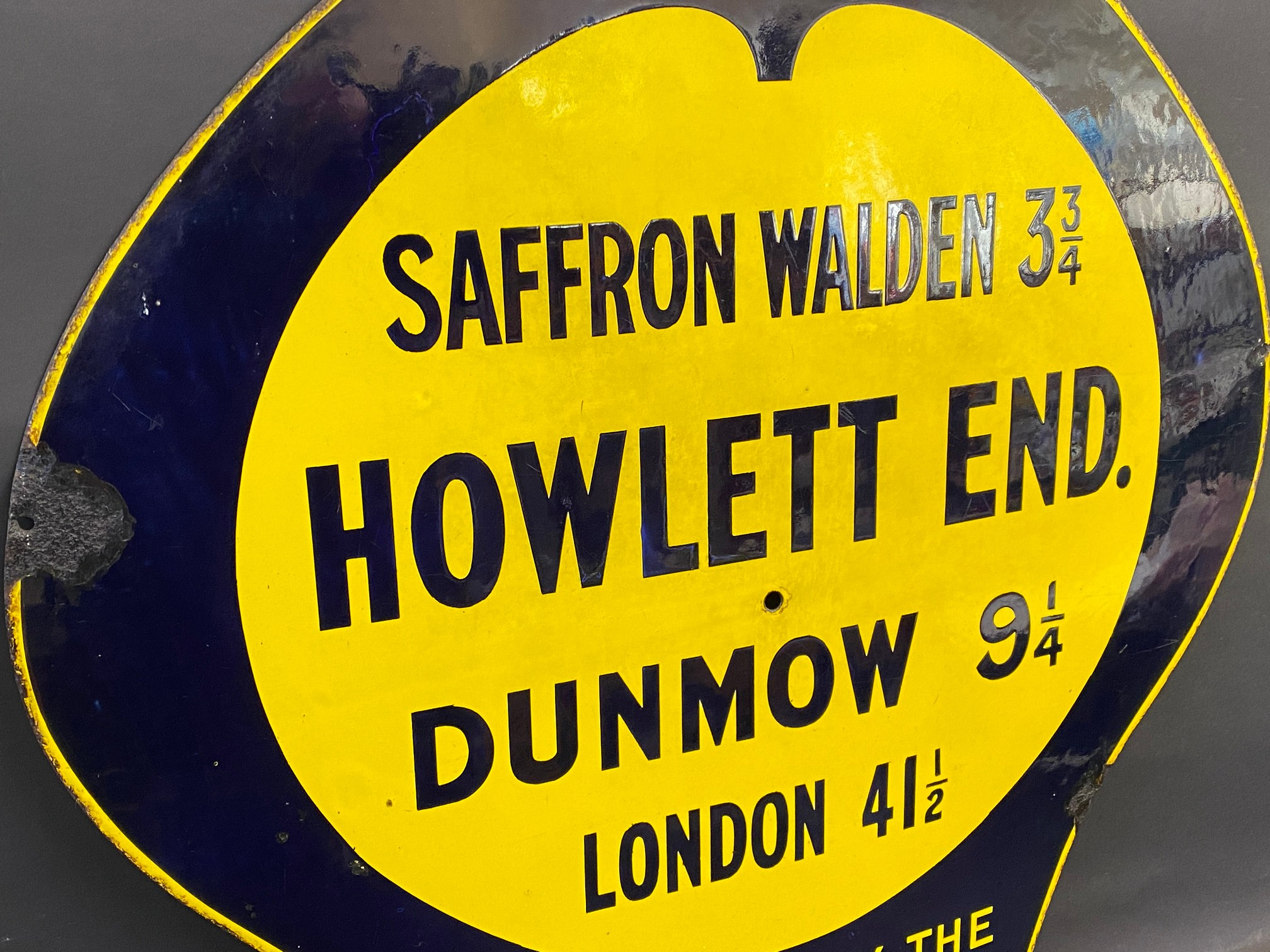 An early AA and Motor Union enamel location sign for Howlett End, Saffron Waldon 3 3/4 miles, the - Image 3 of 6