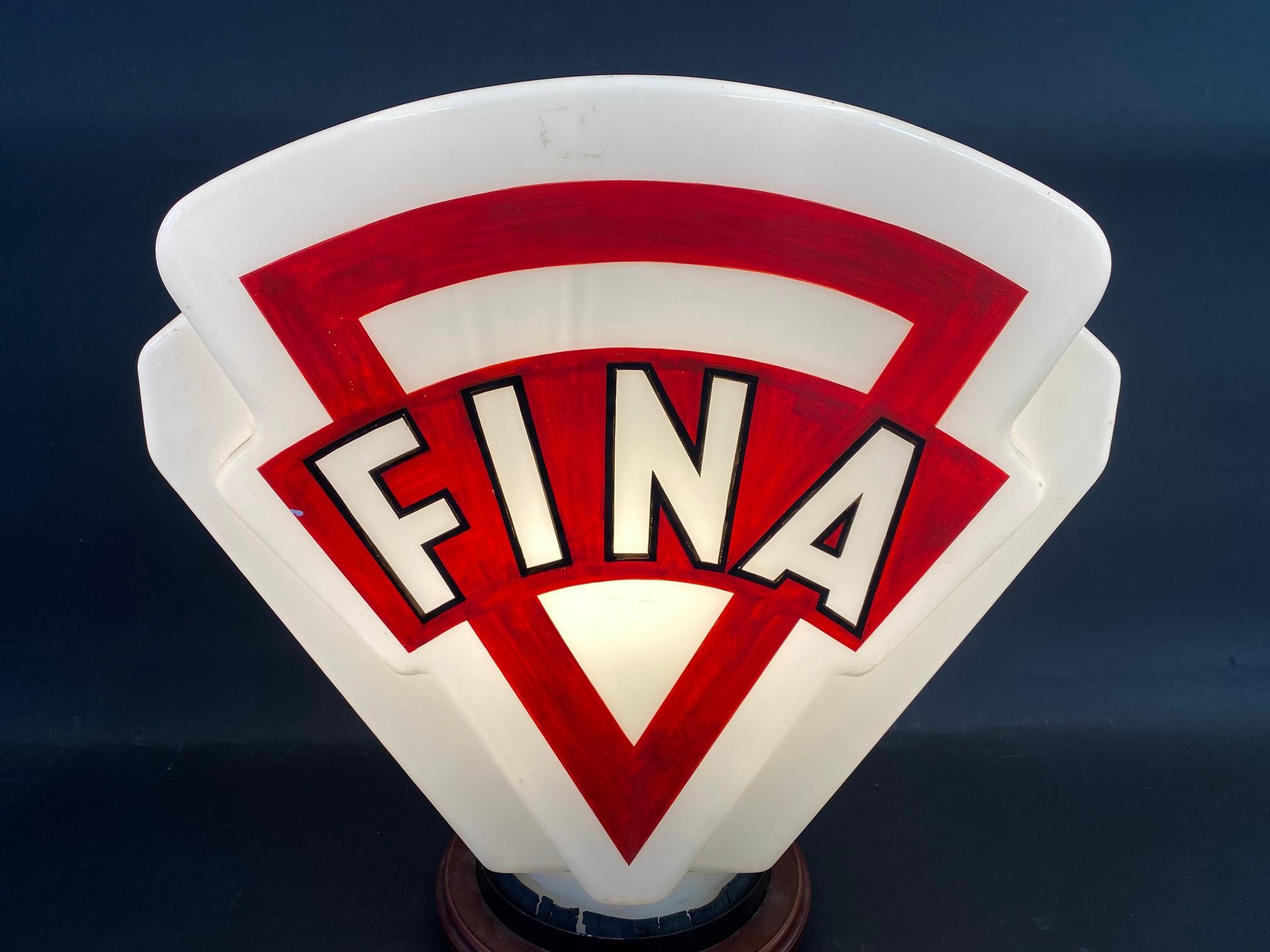 A Fina glass petrol pump globe, minor crack near neck and repainted. - Image 2 of 4