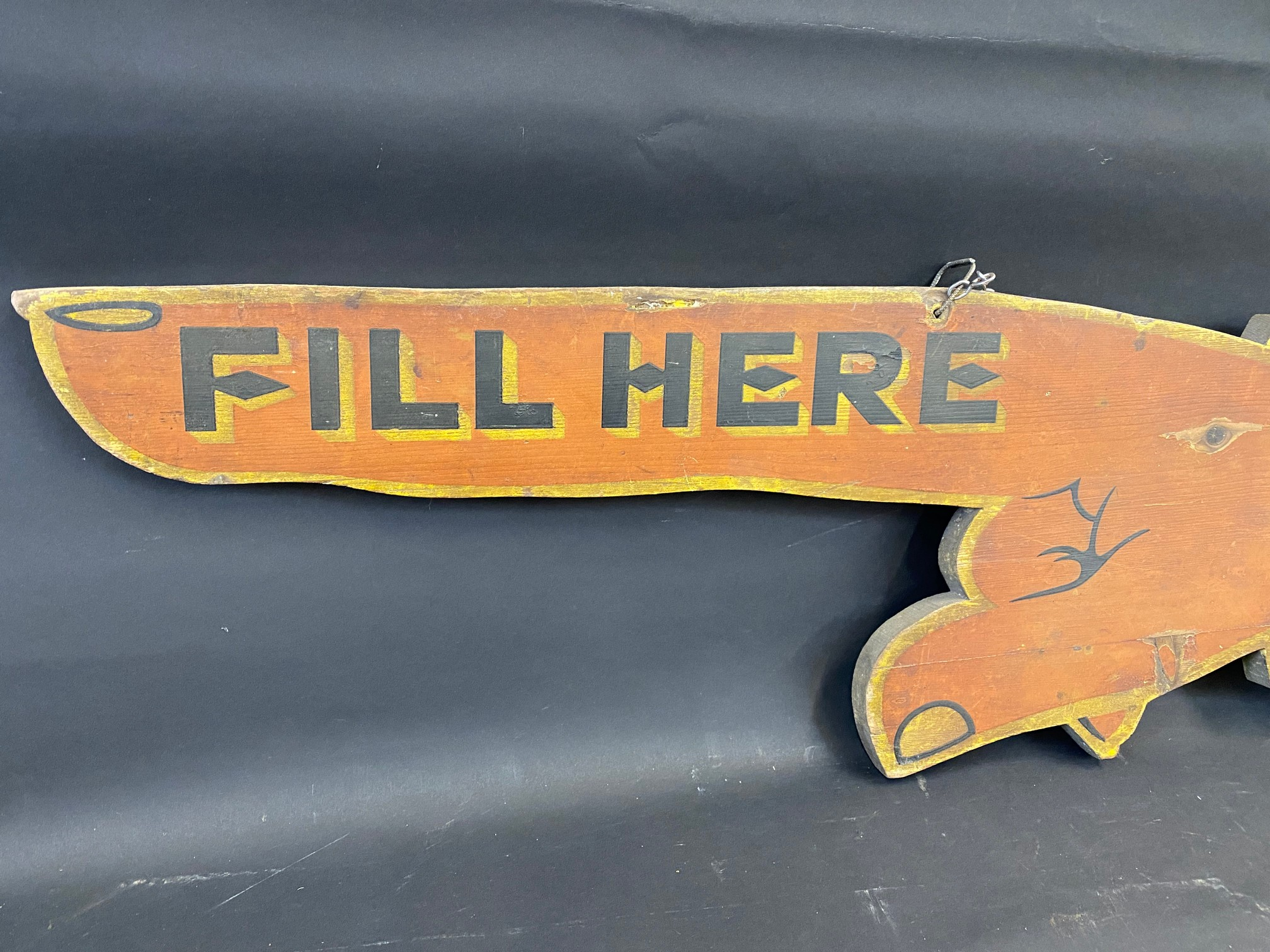 """An early Pratts painted wooden double sided directional 'pointing finger' sign dated 1925, 39 x 12"""". - Image 6 of 6"""