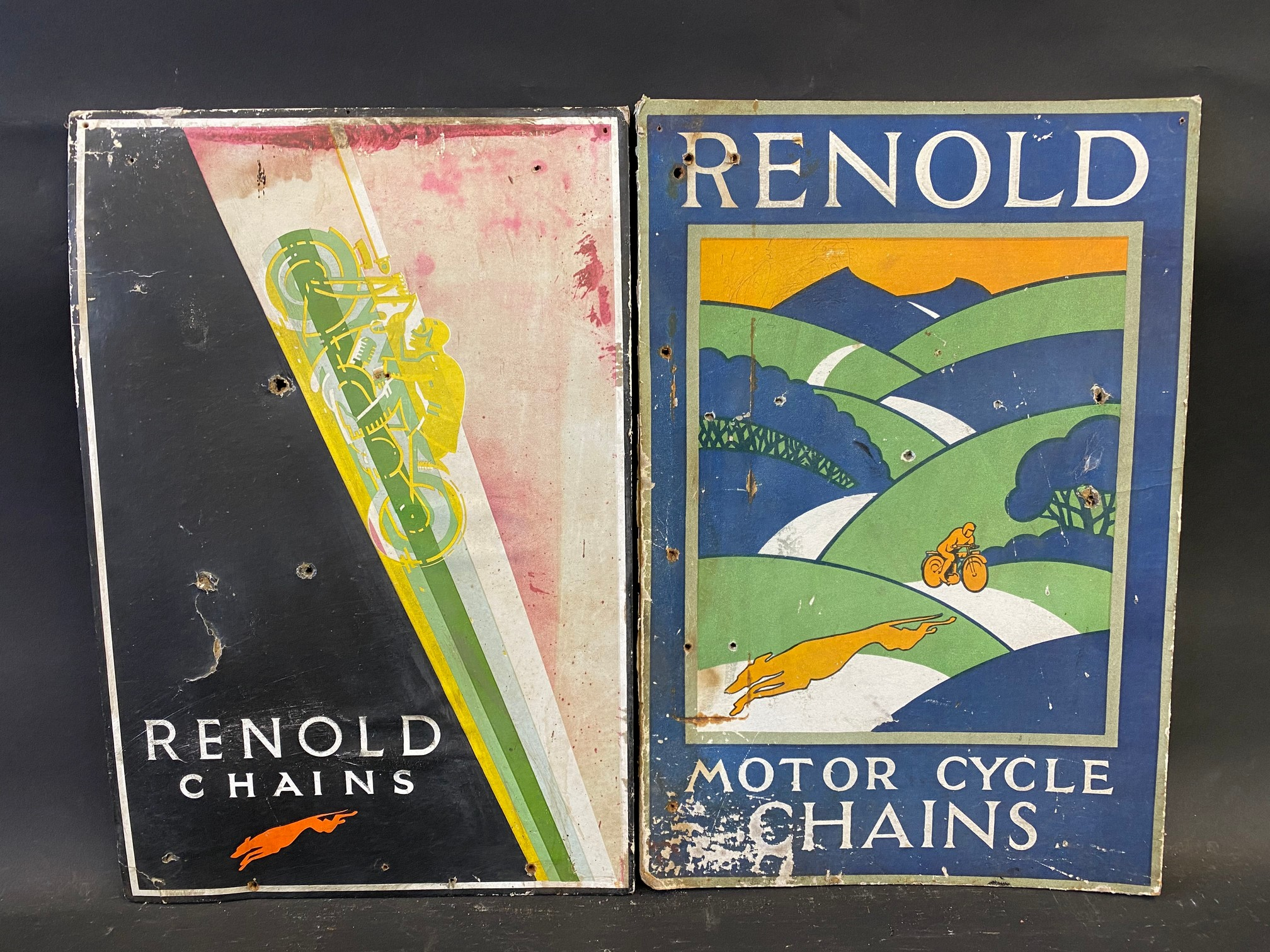 """Two Renold chains pictorial showcards, each 10 x 15""""."""